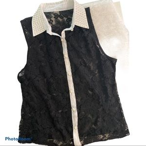 Lace sheer faux pearls high collared blouse